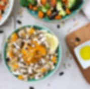 recette salade de quinoa, poulet et houmous de carottes