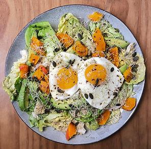 recette salade verte, potiron, quinoa, avocat, oeufs