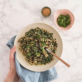 recette torsades épinards champignons