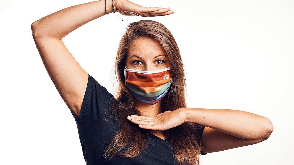 Wende-Maske: Regenbogenstreifen & Salbeigrün