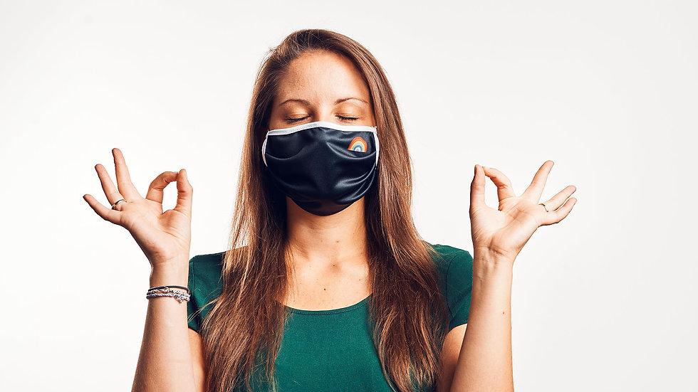 Wende-Maske: Black & Gestreift (Senfgelb, Blaugrau)