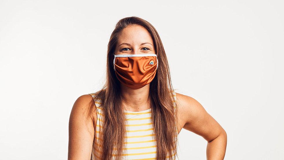 Wende-Maske: Blaugrau & Karamell
