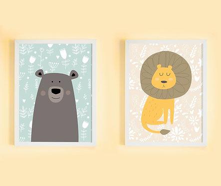 זוג תמונות גדולות ממוסגרות תואמות במחיר מיוחד | תמונות לחדר ילדים | דובי ואריה