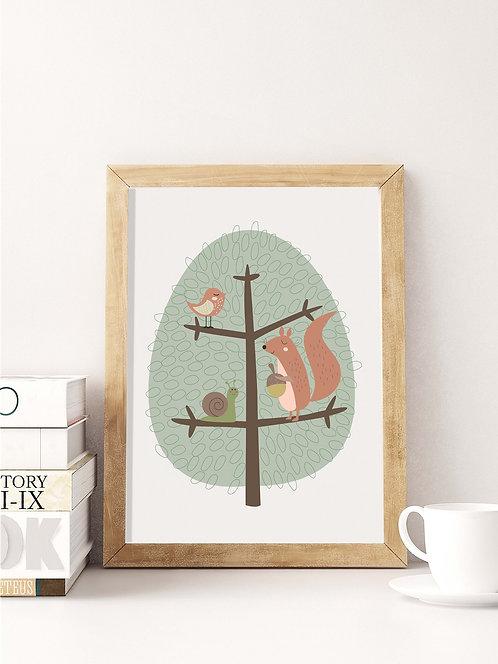 פוסטר לחדר ילדים | עיצוב חדר ילדים | חיות על עץ