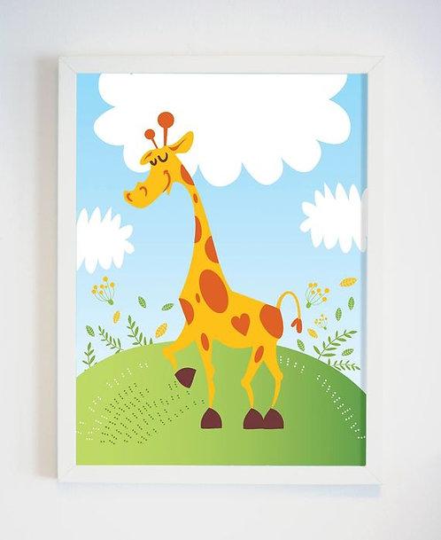 פוסטר לחדר ילדים | עיצוב חדר ילדים | ג'ירפה