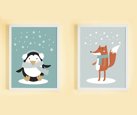זוג פוסטרים גדולים תואמים במחיר מיוחד! | פוסטרים לחדר ילדים | פינגווין ושועל