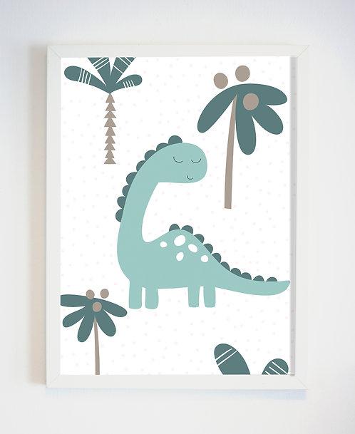 תמונה גדולה ממוסגרת | תמונה לחדר ילדים | דינוזאור ירוק