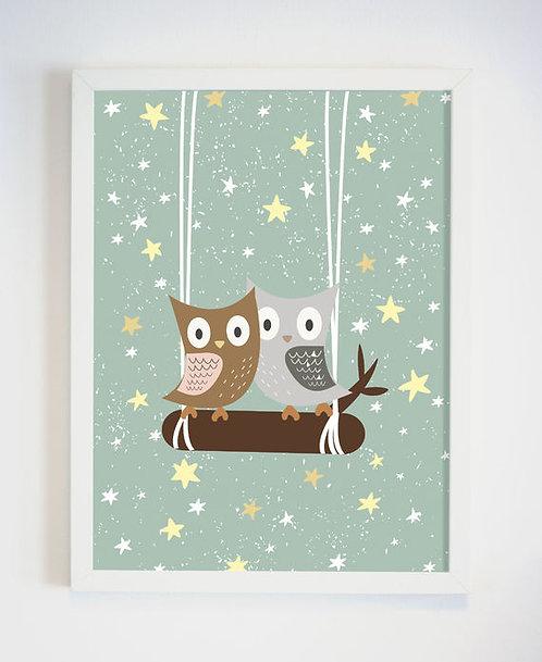 פוסטר לחדר ילדים | עיצוב חדר ילדים | ינשופים וכוכבים