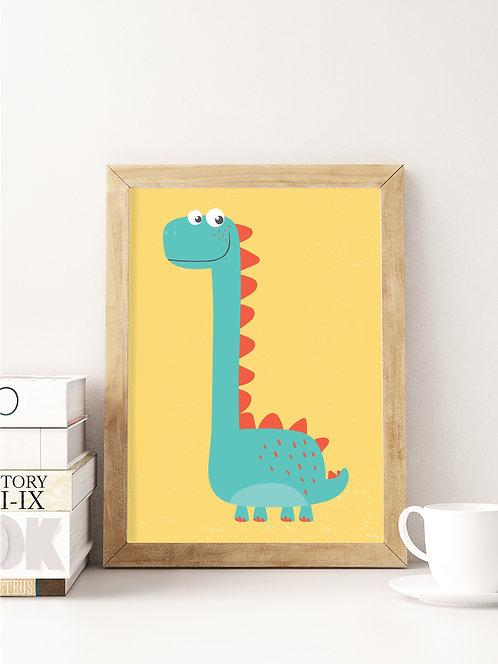 פוסטר לחדר ילדים | עיצוב חדר ילדים | דינוזאור רקע צהוב