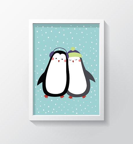 תמונה גדולה ממוסגרת | תמונה לחדר ילדים | זוג פינגווינים