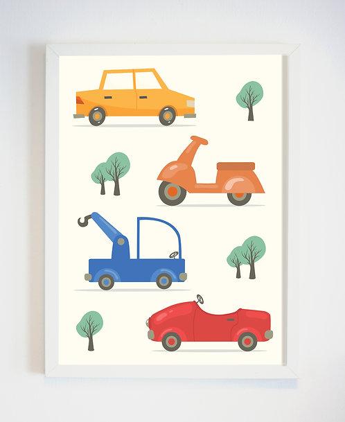 תמונה גדולה ממוסגרת | תמונה לחדר ילדים | מכוניות