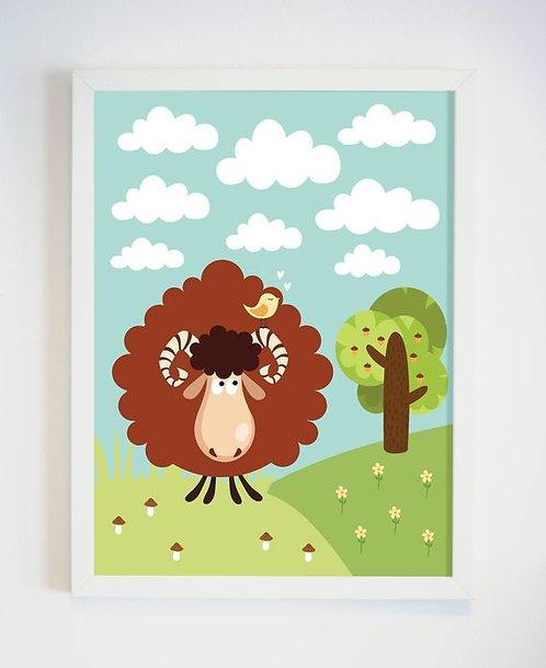 פוסטר לחדר ילדים | עיצוב חדר ילדים | כבש בראש הגבעה