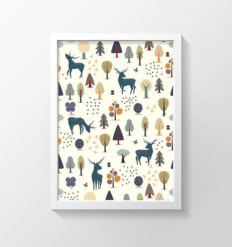 תמונה גדולה ממוסגרת | תמונת קיר | עיצוב הבית | איילים ועצים