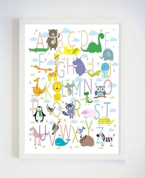 פוסטר לחדר ילדים | עיצוב חדר ילדים | אותיות ABC בליווי חיות