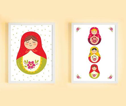 זוג תמונות גדולות ממוסגרות תואמות במחיר מיוחד | תמונות לחדר ילדים | מטריושקות