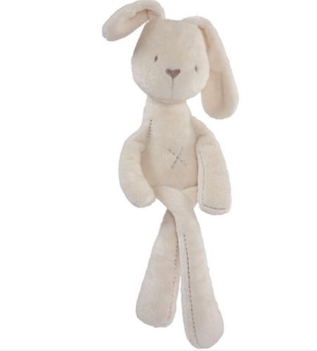 בובת כותנה לילדים | מתנה ליולדת | מתנה לתינוק | בובת ארנב לבנה