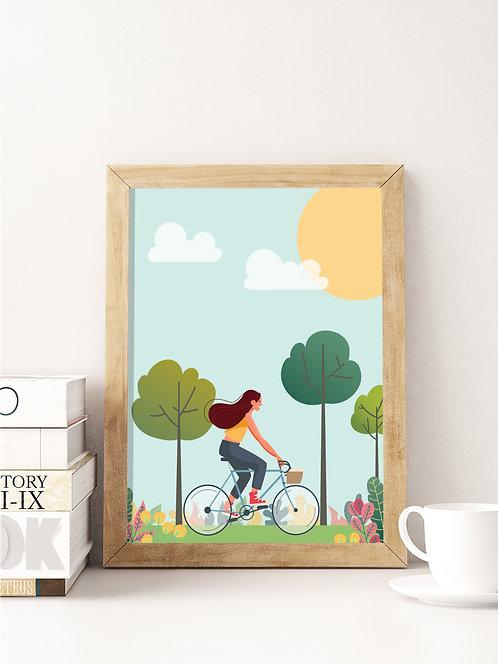 פוסטר לחדר ילדים | עיצוב חדר ילדים | אופניים