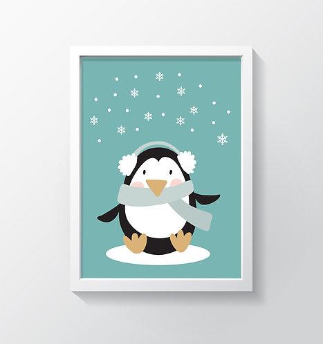 תמונה גדולה ממוסגרת | תמונה לחדר ילדים | פינגווין חורפי