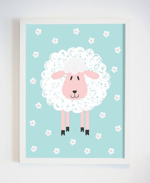 פוסטר לחדר ילדים | עיצוב חדר ילדים | כבשה על רקע פרחוני
