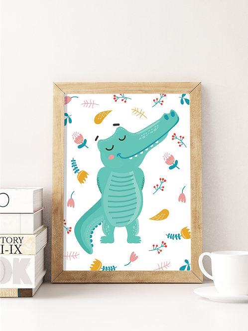 פוסטר לחדר ילדים   עיצוב חדר ילדים   תנין חביב