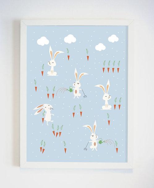 פוסטר לחדר ילדים | עיצוב חדר ילדים | ארנבים בגינה