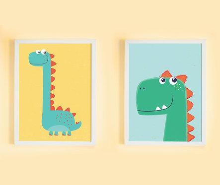זוג תמונות גדולות ממוסגרות תואמות במחיר מיוחד | תמונות לחדר ילדים | דינוזאורים