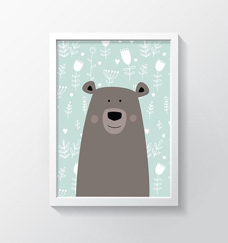 תמונה גדולה ממוסגרת   תמונה לחדר ילדים   דובי חום על רקע תכלת פרחוני