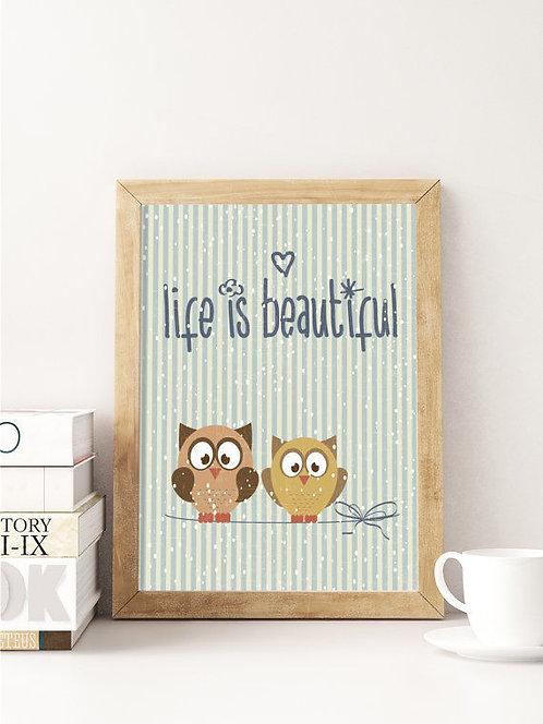 פוסטר לחדר ילדים | עיצוב חדר ילדים | Life Is Beautiful