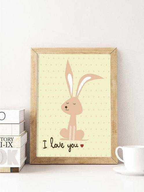 פוסטר לחדר ילדים | עיצוב חדר ילדים | ארנב ורוד I Love You
