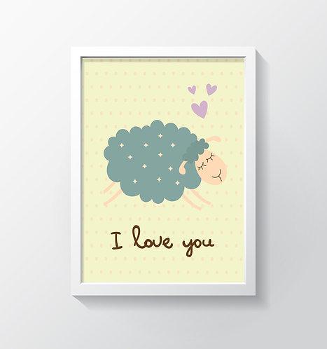 תמונה גדולה ממוסגרת | תמונה לחדר ילדים | כבשה I Love You