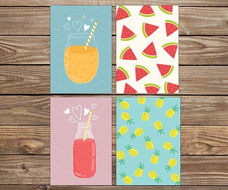 סט 4 גלויות | מארז גלויות | עיצוב הבית | פירות