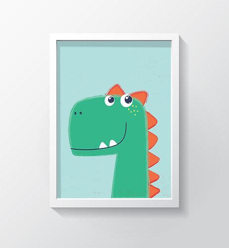 תמונה גדולה ממוסגרת | תמונה לחדר ילדים | דינוזאור רקע תכלת