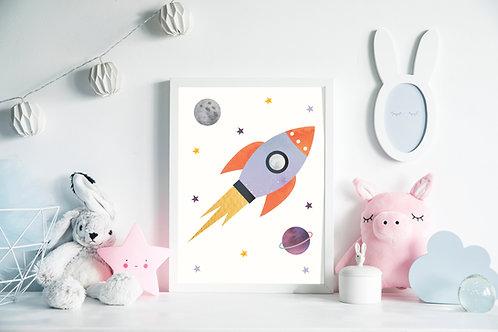 תמונה גדולה ממוסגרת | תמונה לחדר ילדים | טיל בחלל