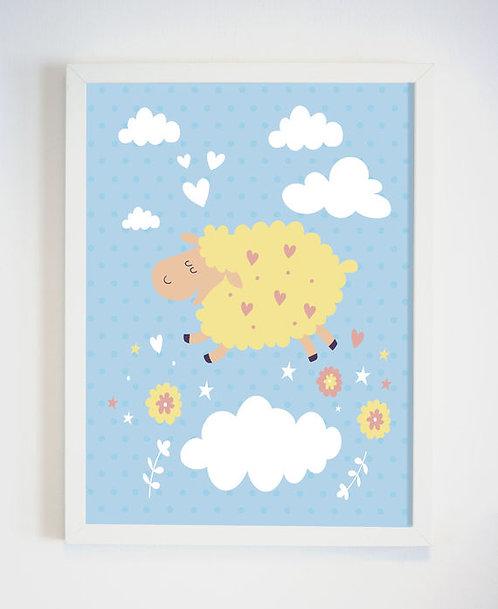 פוסטר לחדר ילדים | עיצוב חדר ילדים | כבשה צהובה בעננים