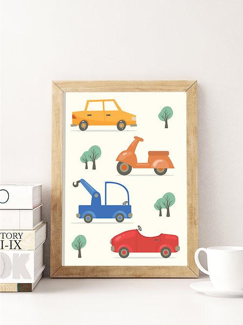 פוסטר לחדר ילדים | עיצוב חדר ילדים | מכוניות