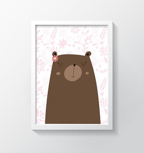 תמונה גדולה ממוסגרת | תמונה לחדר ילדים | דובונת מתוקה