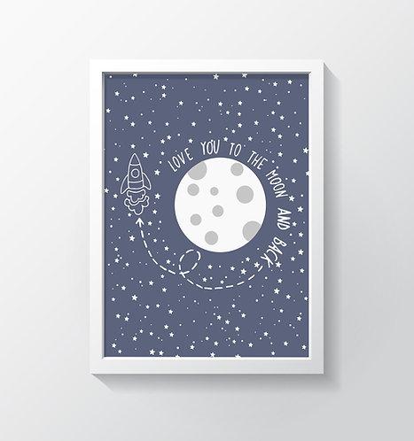 תמונה גדולה ממוסגרת | תמונה לחדר ילדים | ירח וכוכבים