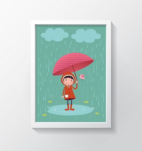 תמונה גדולה ממוסגרת | תמונה לחדר ילדים | ילדה עם מטריה