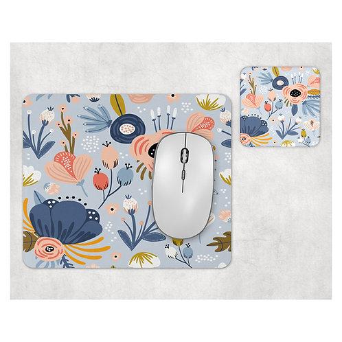 סט פד מעוצב לעכבר ותחתית לכוס | דגם פרחים רקע כחול