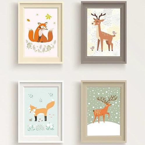 סט 4 גלויות למסגור | מארז גלויות | עיצוב הבית | איילים ושועלים