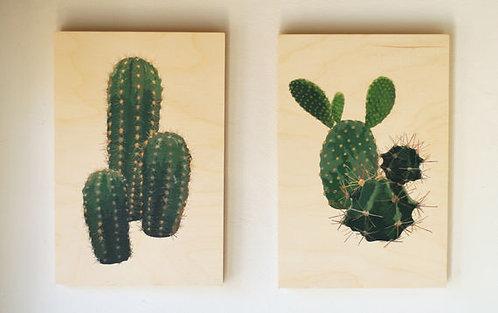 2 תמונת עץ | עיצוב הבית | עיצוב המטבח | סט קקטוסים