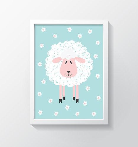 תמונה גדולה ממוסגרת | תמונה לחדר ילדים | כבשה על רקע פרחוני