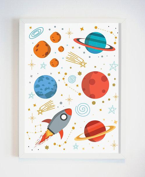 תמונה גדולה ממוסגרת | תמונה לחדר ילדים | חלל