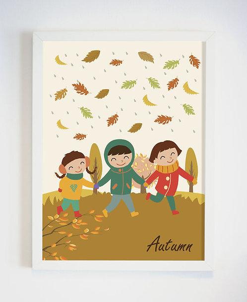 פוסטר לחדר ילדים | עיצוב חדר ילדים | ילדים בסתיו