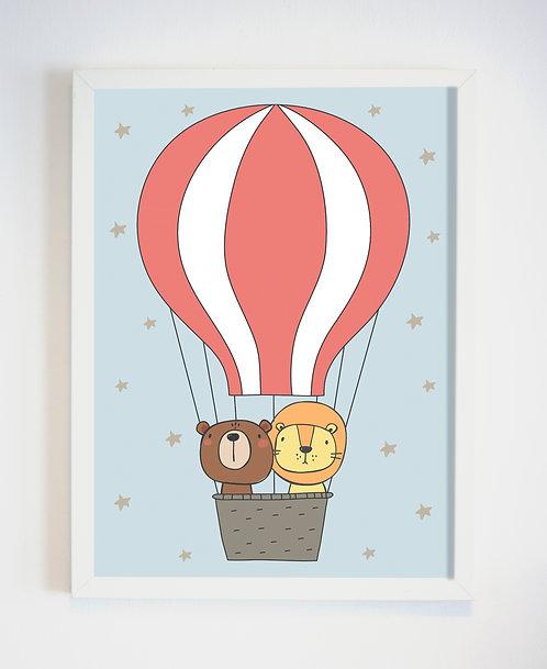 פוסטר לחדר ילדים | עיצוב חדר ילדים | חיות בכדור פורח
