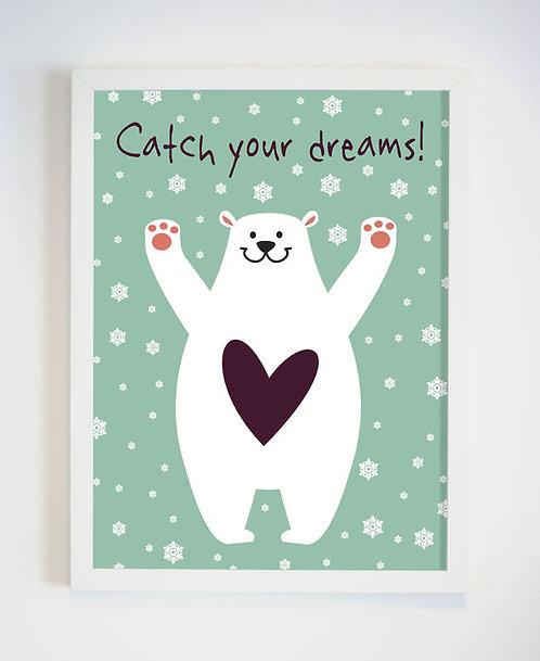 פוסטר לחדר ילדים | עיצוב חדר ילדים | catch your dreams