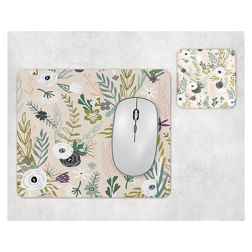 סט פד מעוצב לעכבר ותחתית לכוס | דגם פרחים רקע בז