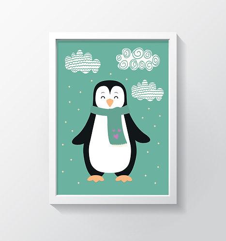תמונה גדולה ממוסגרת | תמונה לחדר ילדים | פינגווין בשלג