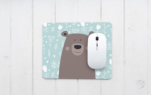 פד מעוצב לעכבר | משטח לעכבר מחשב | דגם דובי חום על רקע תכלת פרחוני