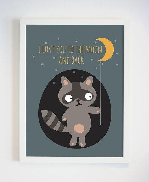 פוסטר לחדר ילדים | עיצוב חדר ילדים | I Love You To The Moon And Back